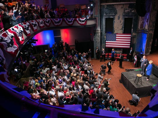 Hillary Clinton appears at Cafe Live at the Queen in Wilmington on Monday. The event drew an estimated 700 to the venue.