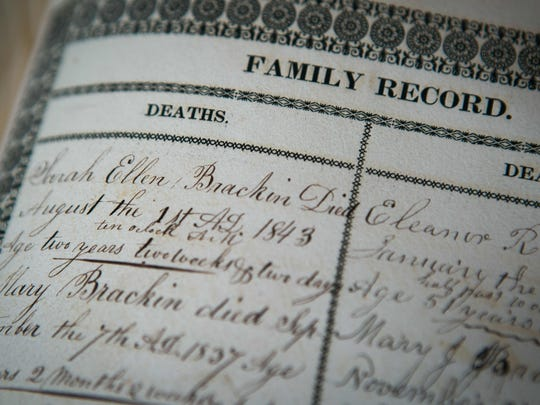 Written family records of the deaths of the Brackin