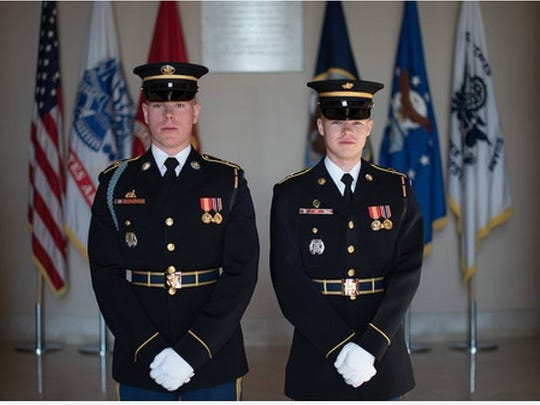 Pfc. Jeffrey Colwell, left, and Spc. Matthew Koeppel.