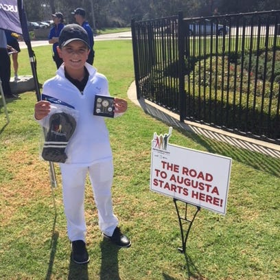 Twelve-year-old Logan Gonzalez of Thousand Oaks gets ready for his shot at Augusta National