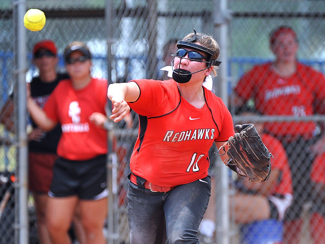Stewarts Creek third baseman Brianna Brady guns a Dickson County runner out at first in the AAA State Championships at Spring Fling 2016 Wednesday, May 25, 2016 in Murfreesboro, Tenn.