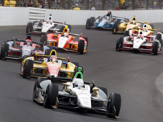 The start of the 97th running of the Indianapolis 500.