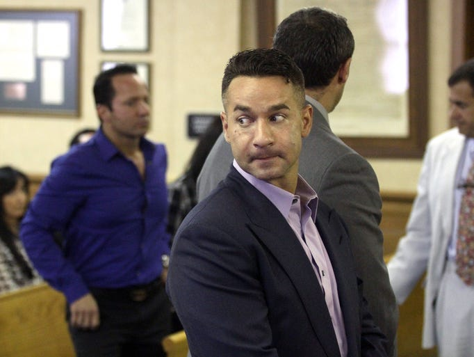 "Mike ""The Situation"" Sorrentino appears in Middletown Township municipal court Monday morning, July 28, 2014, to answer a simple assault charge.  Sorrentino agreed to enter an anger management course and will return to the court in 12 weeks."