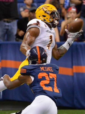 Arizona State receiver N'Keal Harry makes a touchdown reception against UTSA cornerback Teddrick McGhee during the second quarter of an NCAA college football game, Friday, Sept. 16, 2016, in San Antonio.