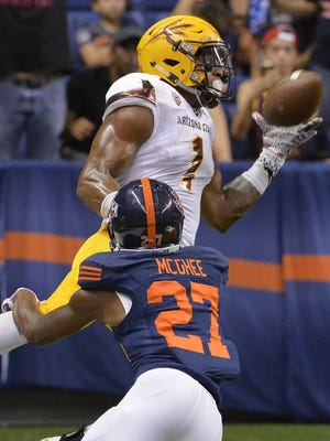 Arizona State wide receiver N'Keal Harry (1) makes a touchdown reception against Texas-San Antonio cornerback Teddrick McGhee.