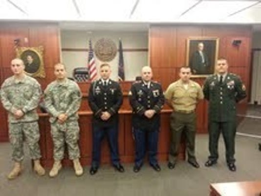 Deputies currently serving in the guard or reserve are, from left, Thomas McCarron, Joshua Phillips, Wesley Johnson, Adrian Stull, James Ring, and Michael Lutz.