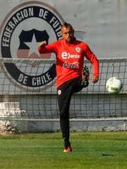 Chile's footballer Arturo Vidal takes part in a training