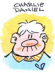 Cartoonist Charlie Daniel in a self-portrait