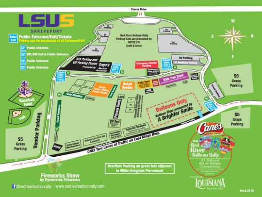 Map for the 2018 Raising Cane's Red River Balloon Rally