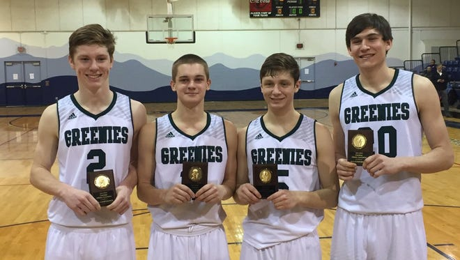 Christ School had four players named to the All-Carolinas Athletic Association boys basketball team. They are from left to right: Will Fleming, Matt Halvorsen, Christian Nichols and John Fulkerson.
