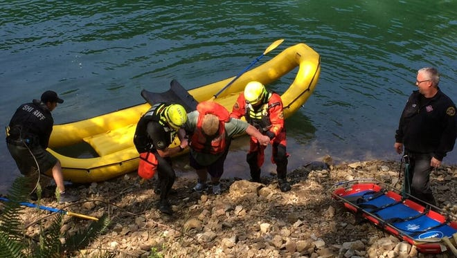 Marion County Sheriff's Office Marine Patrol Unit deputies rescue an Aumsville couple from Big Cliff Reservoir on Monday, May, 30, 2016.