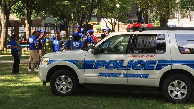 The Mount Vernon Youth Police Academy is at Hartley Park, where a unity rally is taking place, July 12, 2016.