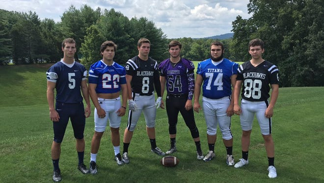 Six recent graduates from Western North Carolina high schools will be playing their college football for Centre (Ky.). They are, from left to right, Asheville School's David Schill, West Henderson's Stephen Perron, North Buncombe's Tommy Apostolopoulos, North Henderson's Cole McCarson, McDowell's Blaise Parker and North Buncombe's Mason Isgrig.