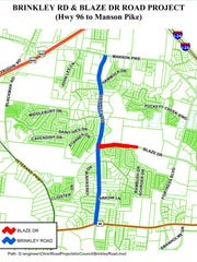 This rendering shows a Murfreesboro city government plan to improve a section of Blaze Drive in red and Brinkley Road in blue from Manson Pike to Franklin Road.