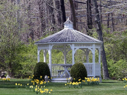 The gazebo in the yard at Andrew Cuomo and Sandra Lee's home on Bittersweet Lane in Mount Kisco.
