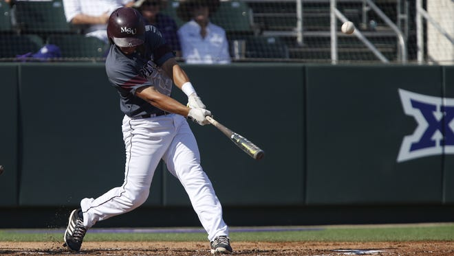 Missouri State's Jeremy Eierman hits a home run in the Bears' game against TCU at the NCAA Super Regional on Saturday, June 10, 2017, in Fort Worth, Texas.