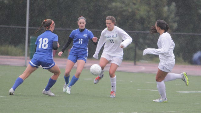 Byram Hills' Jessica Kennett (11), shown here in a game against Bronxville at Byram Hills High School on Friday, October 2nd, 2015, is the latest #lohudgirlssoccer Player of the Week.