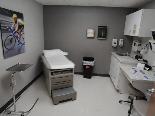 An exam room inside the new Three Waves Health Clinic