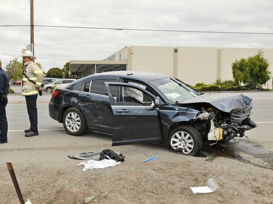 The wreck of the blue Chrysler Sebring involved in a serious accident with a white Honda Accord in Salinas on Tuesday.