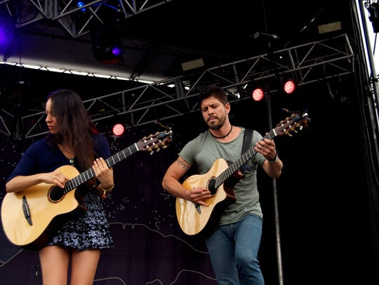 Mexican acoustic guitar duo Rodrigo Y Gabriela performs