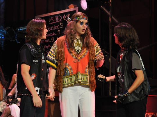 "(From left) Dylon Irving, Michael Martin and William Carroll rehearse Tuesday afternoon for Pineville High School's production of ""Rock of Ages."""