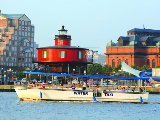 Even if you're more than happy to wander, grab an $8 single ride ticket or a $14 all-day pass to travel to 13 stops on the Water Taxi's trail to get a different view of the surrounding area.