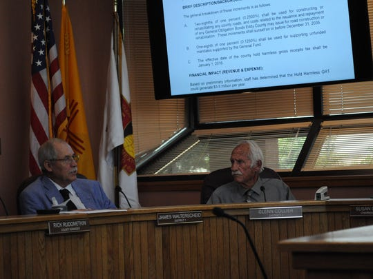 Eddy County Commissioners James Walterscheid and Glenn Collier during a budget meeting.