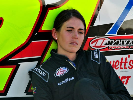 Pensacola's Johanna Long takes a break from practice runs during Snowball Derby week earlier this month at Five Flags Speedway.