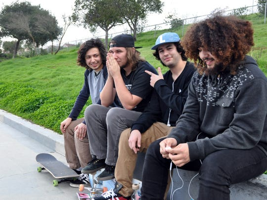 From left, skateboarders Adrian Cornejo, 18, Aaron Casada, 18, Felipe Aguirre, 19, and Jesus Sanabria, 18, at Natividad Creek Park. The facility there for skaters, while in decent shape, is pitch black at night.