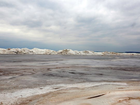 Ice piles along the shore of Port Clinton's city beach