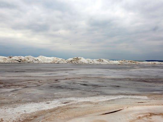 Ice piles along the shore of Port Clinton's city beach