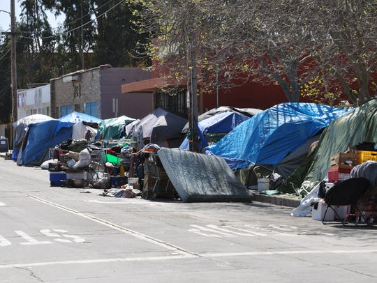 Looking along Soledad St. toward Dorothy's Place in