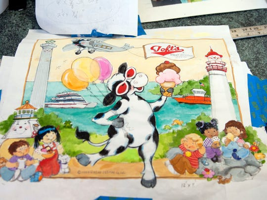 Marblehead artists Jodie and Grant McCallum are known for illustrating children's books for companies across Ohio. They've brought their talent to a 12-by-8-foot mural at Toft's Ice Cream Parlor in Portage Township.