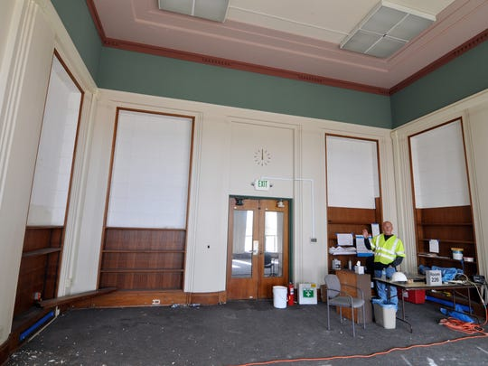 Pueblo Construction supervisor Nick Michaels' temporary, un-renovated office on the third floor of the west wing of the Monterey County Courthouse in Salinas. This room will be preserved as a historical museum.
