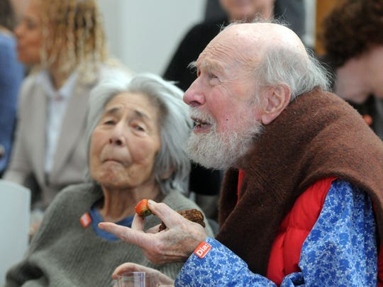 Toshi and Pete Seeger on April 11, 2013, at Dia:Beacon.