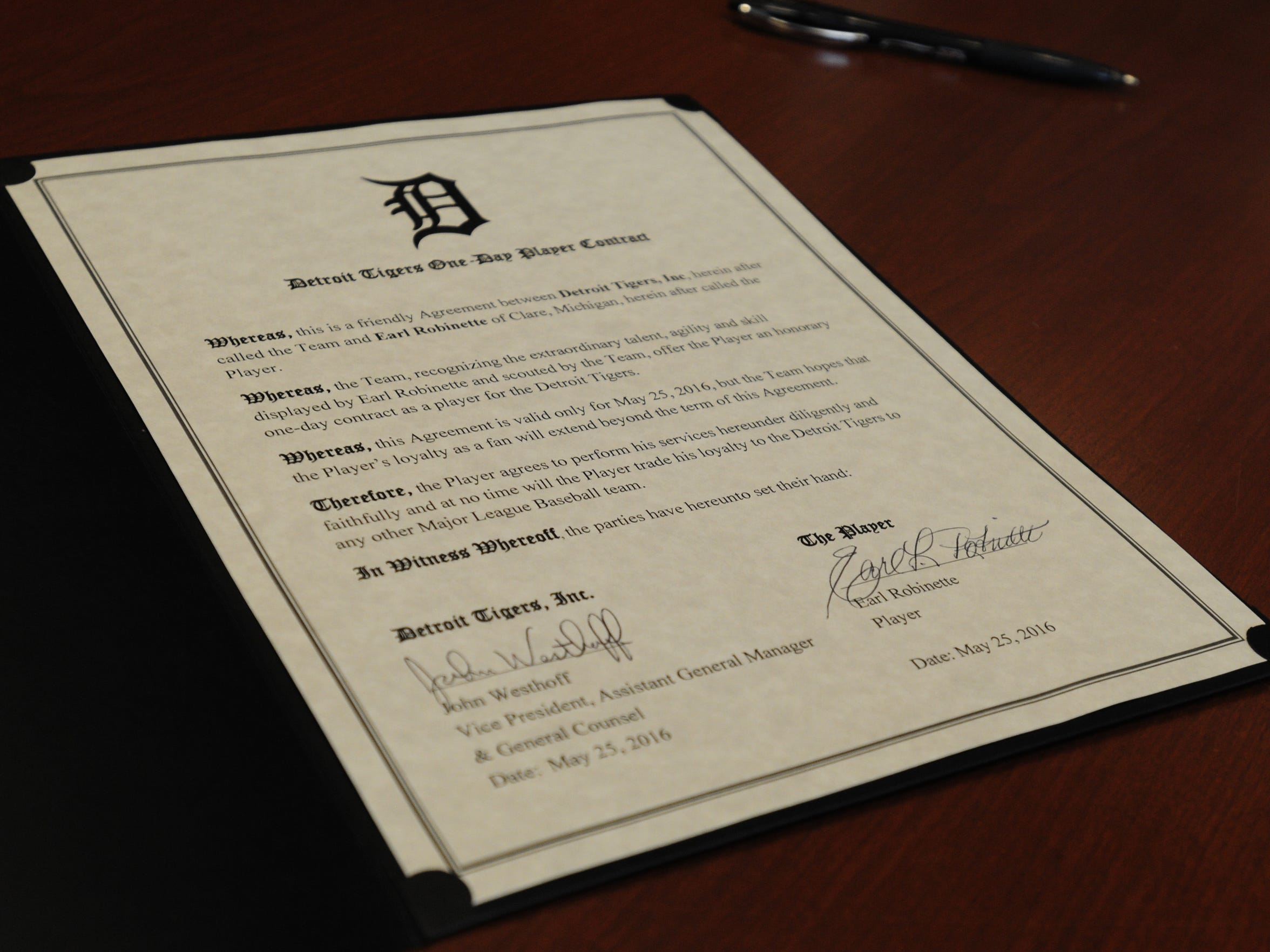 The contract Earl Robinette signed at Comerica Park