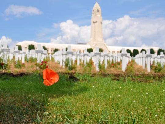 A poppy grows at Verdun Memorial Cemetery in France. Poppies became a symbol of war recognition following World War I, and are worn on both Veterans Day and Memorial Day.