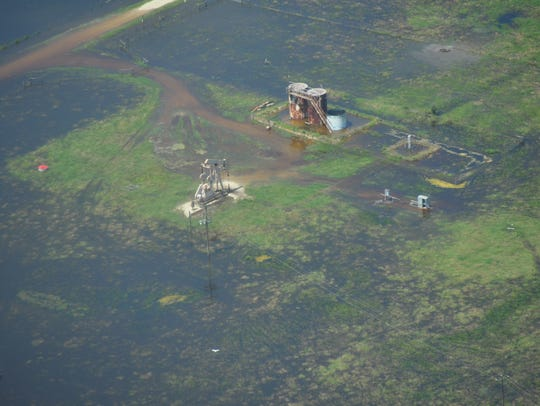 A spill photographed by the Texas Civil Air Patrol