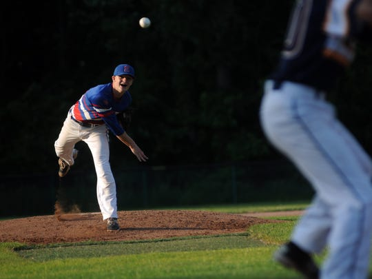 St. Clair Saints' Josh Markel tosses in a pitch Monday, June 19, during the SC4 Blue Water Area All-Star Game at Sanborn Park.