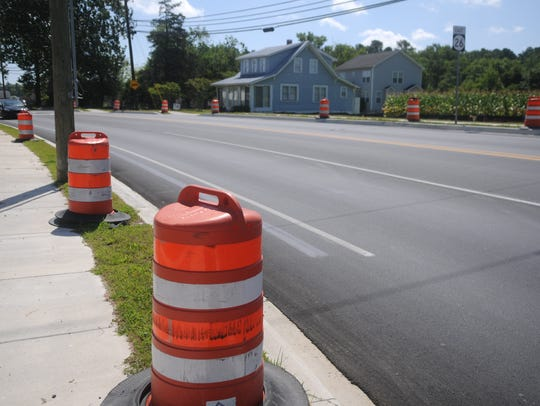 Construction markers on Route 26