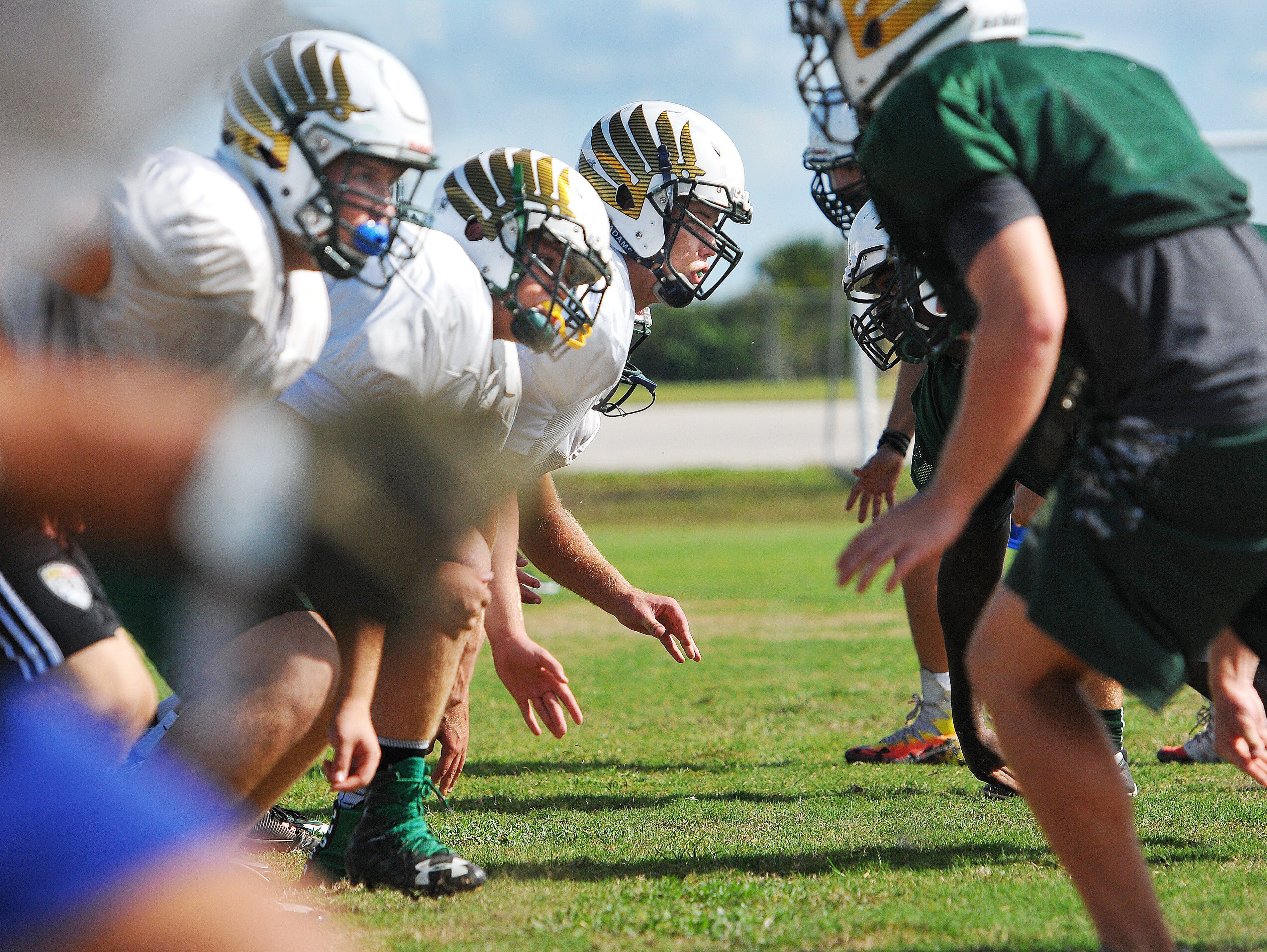 Viera High players and coach go over some offensive and defensive plays during Monday's practice as they get ready for the upcoming season.