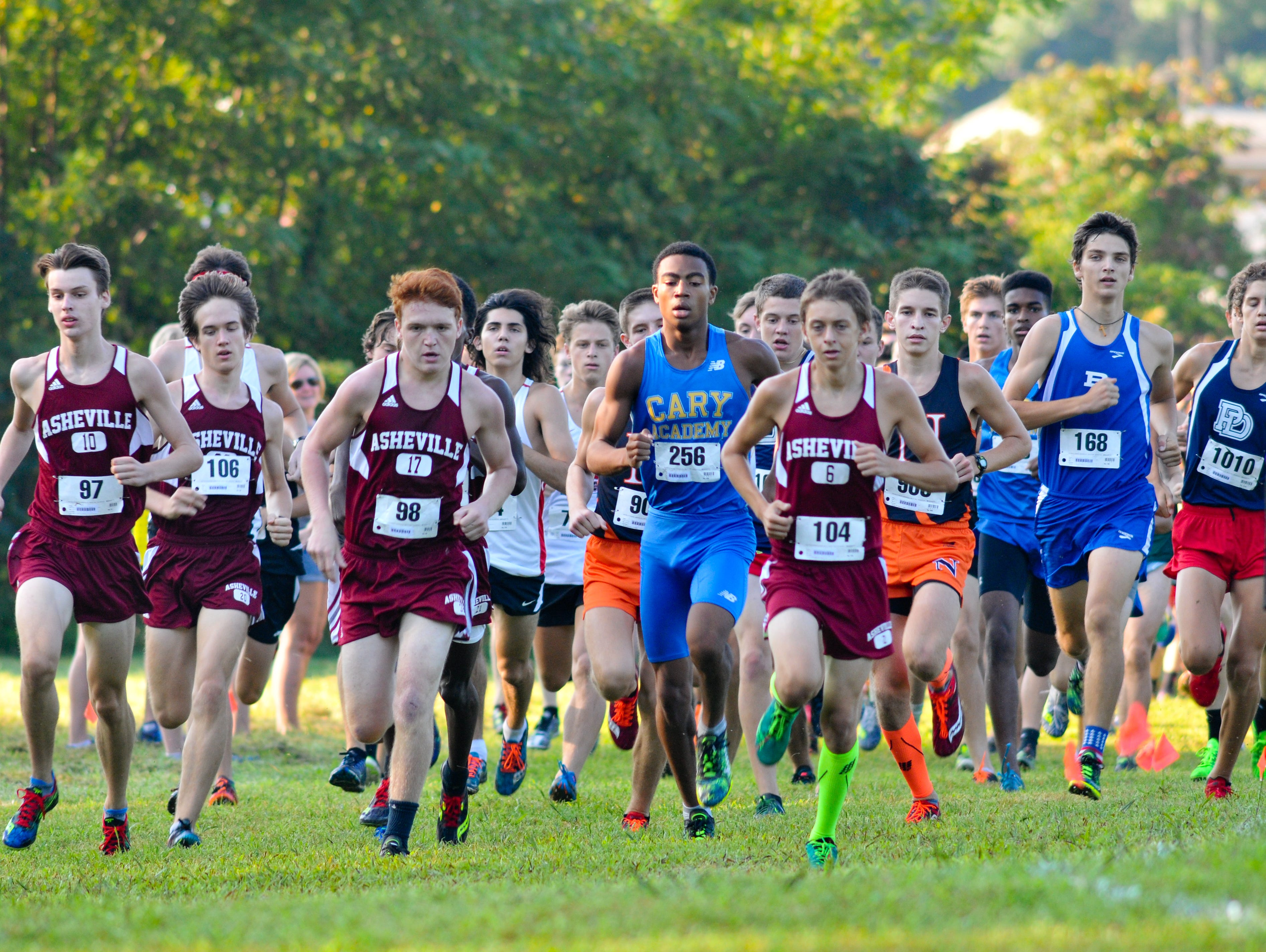 Runners, including a big pack from Asheville High, compete in the boys championship race at Saturday's Western North Carolina Cross Country Carnival in Hendersonville.