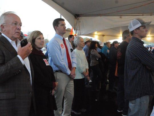 State Rep. Jim Townsend, left, (R-Artesia) spoke at