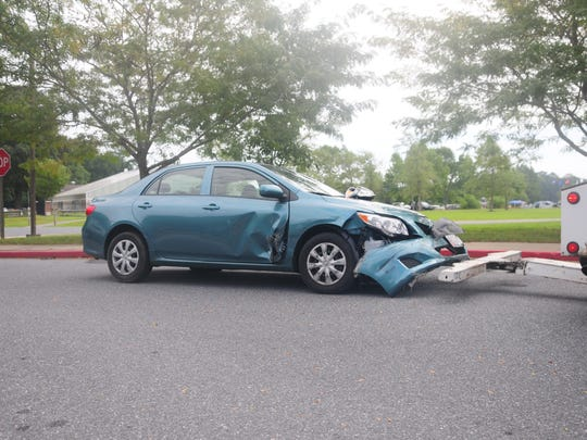 A vehicle involved in a car accident at the Ocean Pines