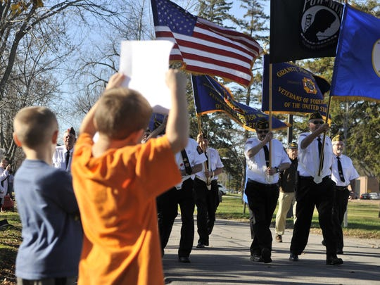 In recent years, the number of people lining the Veterans Day Parade route has diminished.  People of all ages are welcome to stand and cheer the people marching.