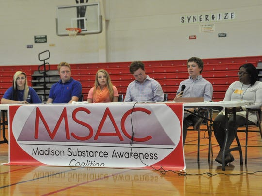 Student panelists Taryn Baker, Travis Davis, Britney Cody, Ian Smith, Coleson Garrett and Raven Fourney shared their insights with their peers on drug and alcohol use.