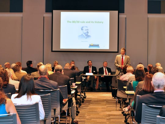 """Joe Hahn discussed """"Better Business and Life Using 80/20"""" during his keynote address Friday at the Horizon Council annual meeting."""