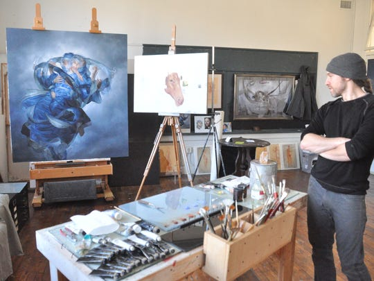 Frank Lombardo inside his studio discusses the inspiration for his works and the unique qualities of the local arts scene.