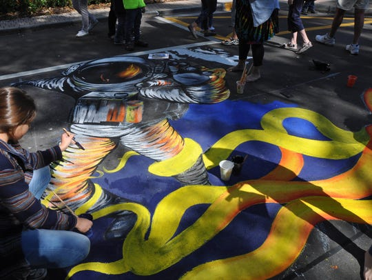 This year's chalk art event on Fifth Avenue South was postponed in January because of weather. It's scheduled for this weekend.
