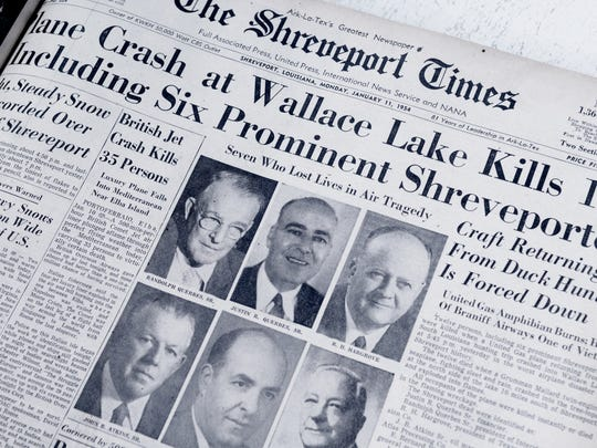 Front page of The Shreveport Times on January 11, 1954,